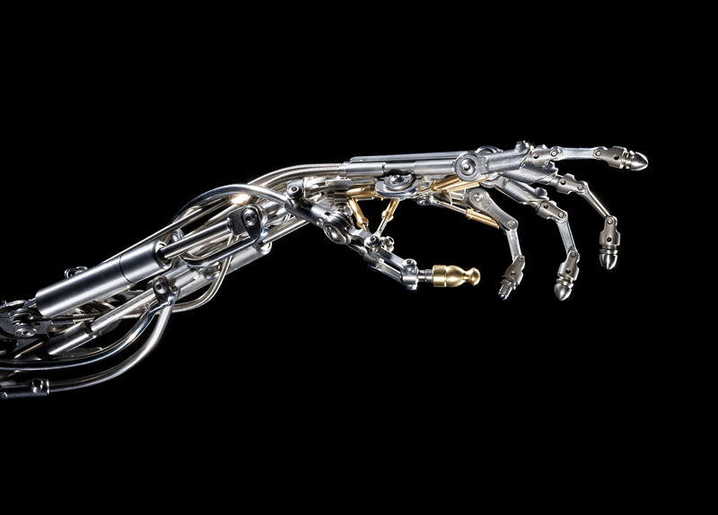 BIOMECHANICAL STAINLESS STEEL ROBOTIC ARM BY CHRISTOPHER CONTE