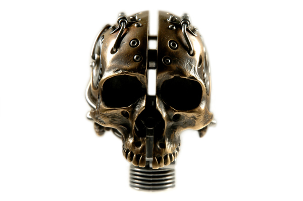 BRONZE ROBOTIC CYBORG BIOMECHANICAL SKULL BY ARTIST CHRISTOPHER CONTE