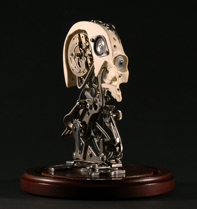 MINIATURE ROBOTIC CYBORG SKULL TITLED CHRONOS 2 BY ARTIST CHRISTOPHER CONTE