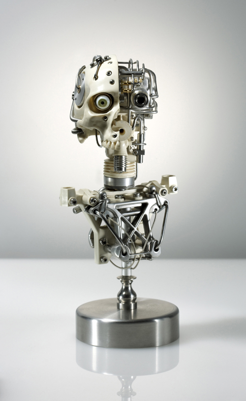MINIATURE ROBOTIC CYBORG SKULL TITLED CYNTHETIC CROSS-SECTION BY ARTIST CHRISTOPHER CONTE