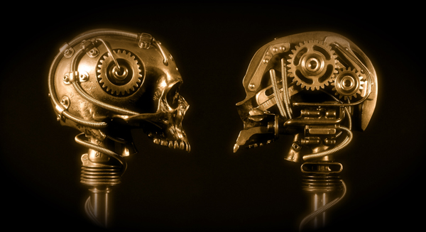 BRONZE ROBOTIC CYBORG SKULL TITLED COG-NITION BY ARTIST CHRISTOPHER CONTE