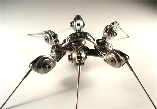 ROBOTIC INSECT TITLED STAINLESS STEEL SPIDER ARMATURE BY ARTIST CHRISTOPHER CONTE